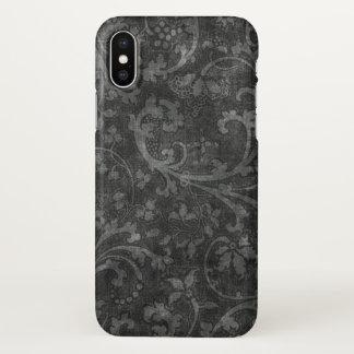 black vintage flowers art iPhone x case