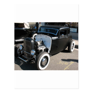 Black Vintage Hot Rod Postcard