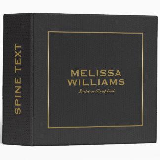 Black Vintage Leather Texture Gold Frame Accent Vinyl Binder
