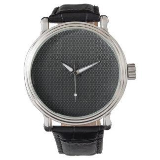 Black Vintage Leather texture Watch