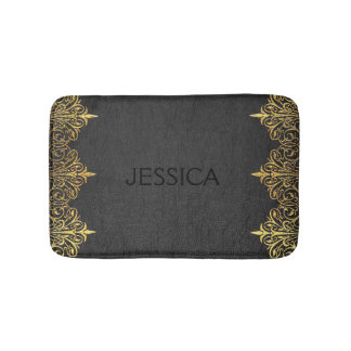 Black Vintage Leather With Gold Swirly Frame Bath Mat