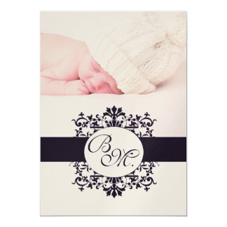 Black Vintage Monogram Baby Announcement & Photo