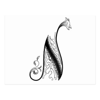 Black Vintage Monogram N Script Floral Postcard