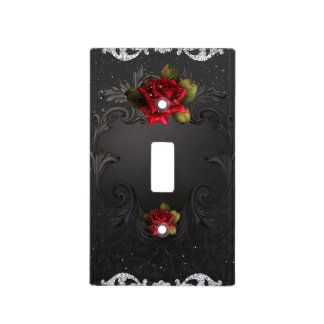 Black Vintage Ornamental Red Roses Glam Sparkle Light Switch Cover