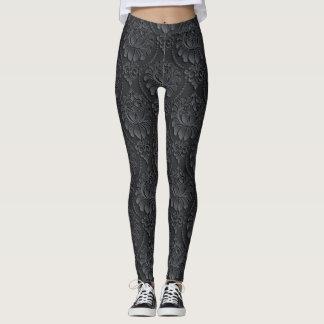 Black Vintage Pattern Leggings