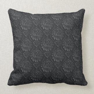 Black Vintage Pattern Throw Pillow