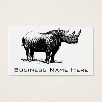 Black Vintage Rhinoceros Line Art Business Card