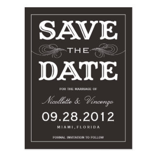 BLACK VINTAGE | SAVE THE DATE ANNOUNCEMENT POSTCARD