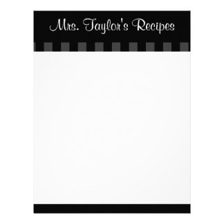 Black Vintage Stripes Recipe Cards