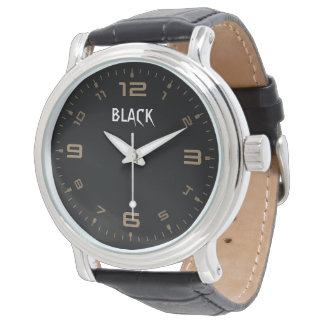 """Black"" Vintage watch design with Leather strap"