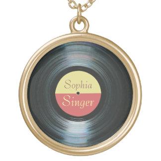 Black Vinyl Gold Finish Necklace
