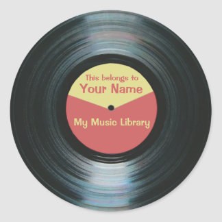 Black Vinyl Music Library Record Label Stickers