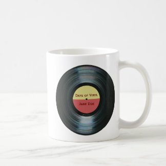 Black Vinyl Music Record Label Drinkware Coffee Mug