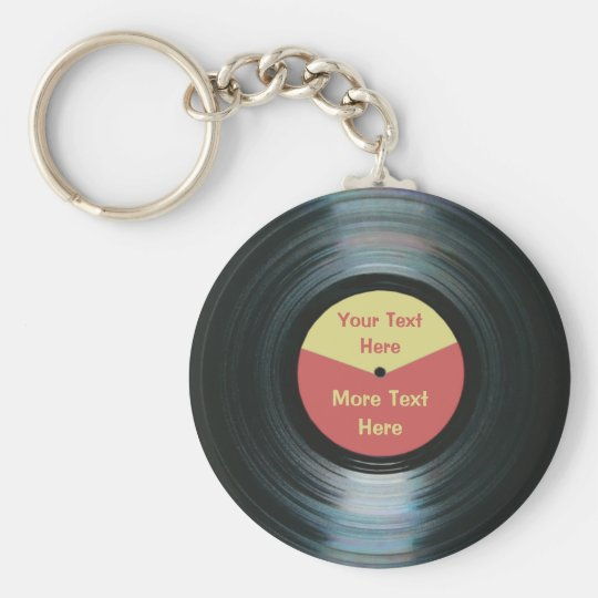 Black Vinyl Music Red and Yellow Record Keyring Basic Round Button Keychain