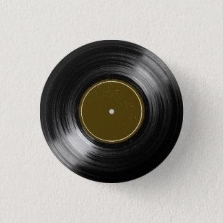 black vinyl record 1 inch round button