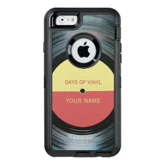 Black Vinyl Record Effect OtterBox Defender iPhone Case