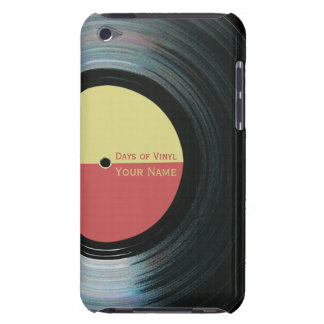 Black Vinyl Record Effect Yellow Label iPod 4G iPod Case-Mate Cases