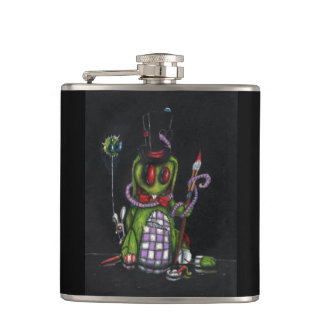 Black Vinyl Wrapped Flask with Tattered Rabbit