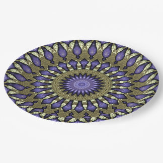 Black Violet Purple Faux Gold Mandala Pattern Paper Plate