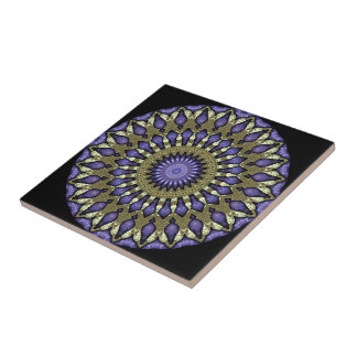 Black Violet Purple Faux Gold Mandala Pattern Tile