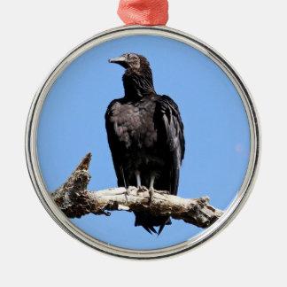 Black Vulture Silver-Colored Round Ornament