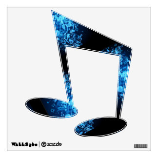 Black w/Blue Sixteenth Note Design on Wall Decals