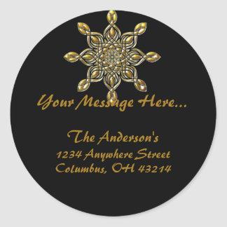 Black w/Gold Decorative Return Address Labels