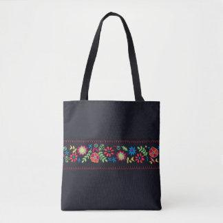 Black w/ Neon Flowers tote bag