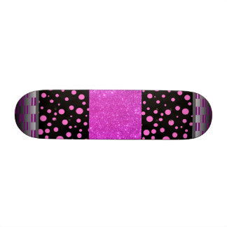 Black w Pink Polka Dots & Sparkle Girls Skateboard