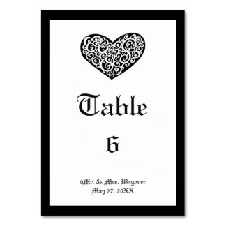 Black w/White Swirly Heart - 3x5 Table Card