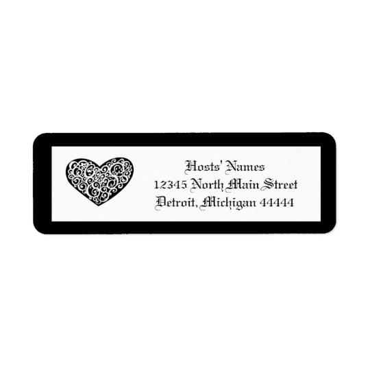 Black w/White Swirly Heart - Address Label