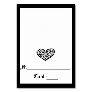 Black w/White Swirly Heart - Escort Card