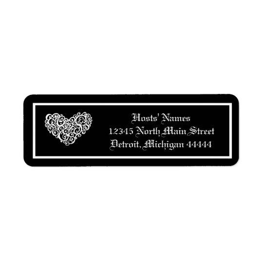 Black w/White Swirly Heart - Postage Stamp