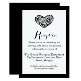 Black w/White Swirly Heart - Reception Invitation