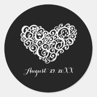 Black w/White Swirly Heart - Simple Circle Sticker