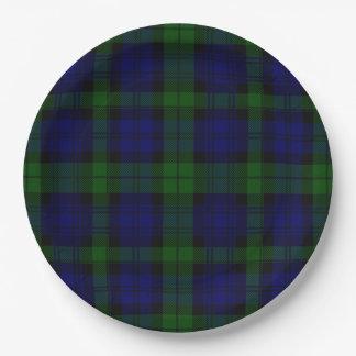 Black Watch clan tartan blue green plaid Paper Plate