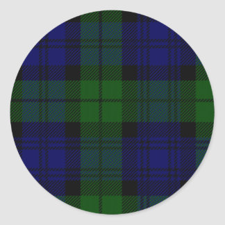 Black Watch clan tartan blue green plaid Round Sticker