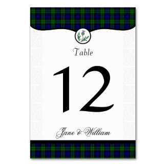 Black Watch Plaid and Scots Thistle Table Number Table Card