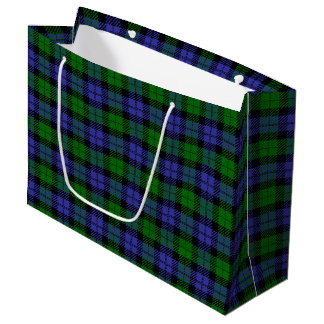 Black watch plaid large gift bag
