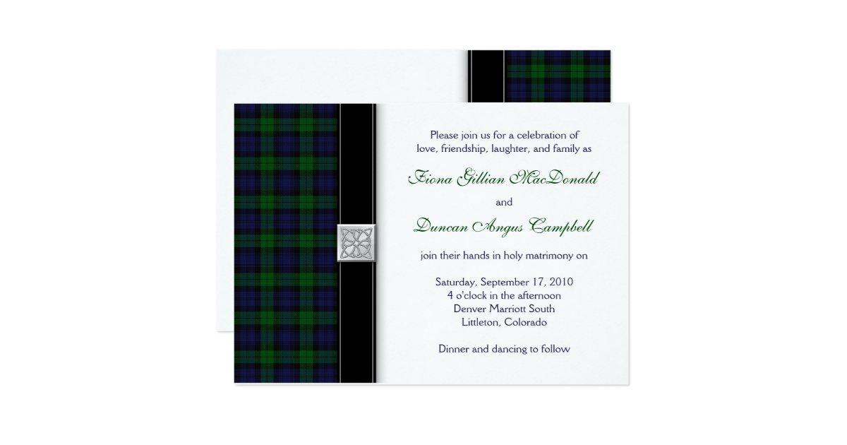 Black Watch Scottish Tartan Wedding Invitation Zazzle