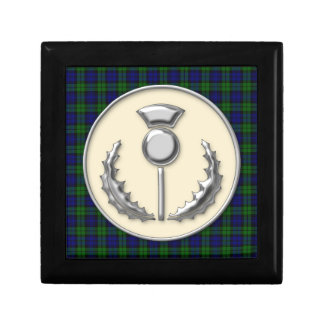 Black Watch Scottish Tartan with Thistle Emblem Gift Box