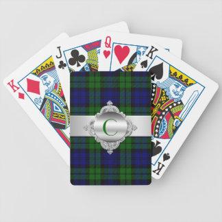 Black Watch Tartan Plaid Monogram Playing Cards