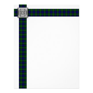 Black Watch Tartan 'Ribbon' with Celtic Knot Pin Letterhead