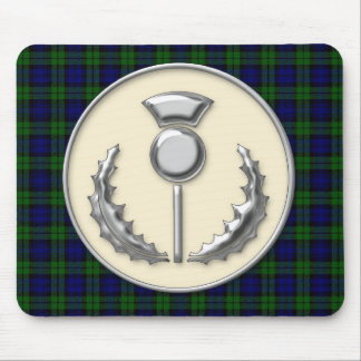 Black Watch Tartan & Silver Effect Thistle Emblem Mouse Pad