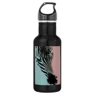 Black water bottle graphic design of zebra head