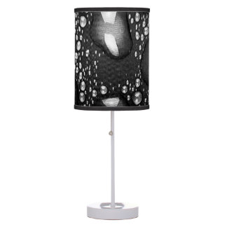 BLACK WATER TABLE LAMP RICE PAPER SHADE WHITE BASE