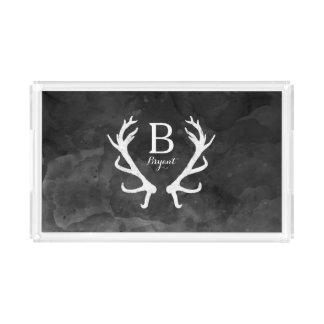 Black Watercolor and Rustic Deer Antlers Monogram Acrylic Tray