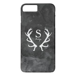 Black Watercolor and Rustic Deer Antlers Monogram iPhone 7 Plus Case
