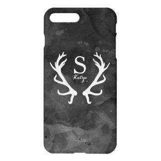 Black Watercolor and Rustic Deer Antlers Monogram iPhone 8 Plus/7 Plus Case
