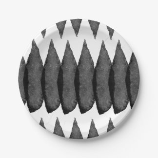 Black watercolor brushstrokes chevron pattern paper plate